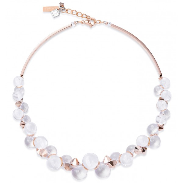 Limited edition necklace in Lucite balls, Swarovski® Crystals & stainless steel rose gold.