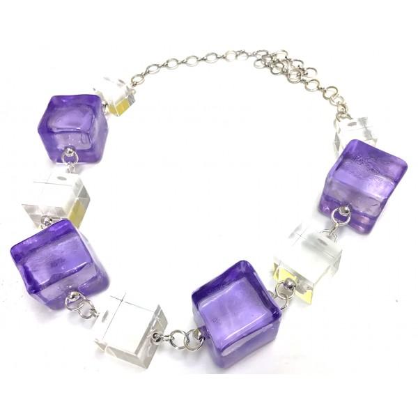 Purple Lucite Cubes Necklace